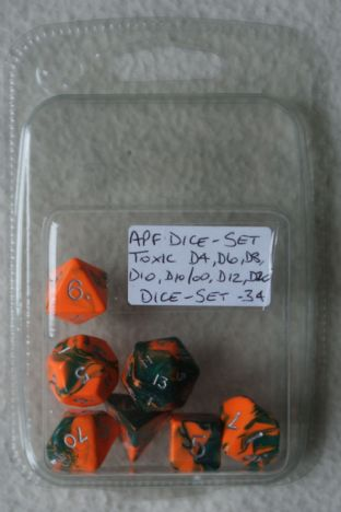 APF DICE-SET-34 (D4, D6, D8, D10, D10/00, D12 & D20) Toxic Poly Dice Set Orange